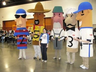 Nicole with racing sausages.jpg