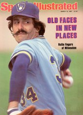 Former Brewers pitcher Rollie Fingers on the cover of Sports Illustrated in 1981