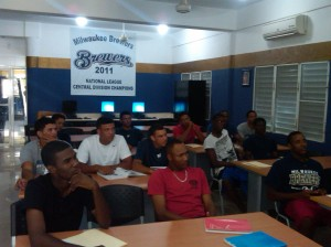 Players participate in English classes.