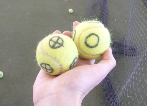 "Players tried to hit only the balls with the ""crosshairs"" (the one on the left) and let the other ones go."