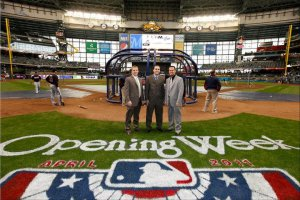 John with Ken Spindler and Mike Vassallo--the Media Relations crew--for our traditional Opening Day photo.