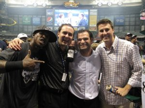 Nyjer Morgan, myself, Zack Minasian and Cory Melvin after the Brewers clinched the N.L. Central Division.