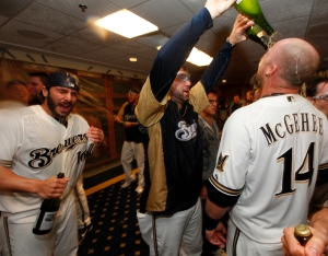 A select number of authenticated champagne bottles used in the locker room celebrations at Miller Park are on sale this weekend.