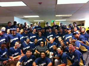 Ali with the Brewers team at Spring Training.
