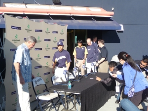 Doug Melvin along with Aoki, interpreter Kosuke Inaji and Ron Roenicke begin the press conference.