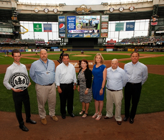 From left to right: Peter Templeton with the U.S. Green Building Council; Bob Hallas, Brewers Senior Director, Stadium Operations; Dave Myers, JCI; Kim Hosken, JCI; Molly McElligott, JCI, Kevin Potter, JCI and Jeff Hansen, JCI. The crew that helped Miller Park receive its LEED Certification.