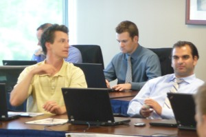 Craig Counsell and Zack Minasian in the Brewers War Room.