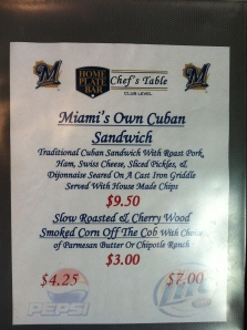 Menu for the Marlins Series