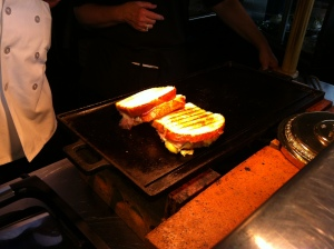 The sandwich made to order on the cast iron griddle.