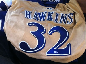 This game-worn and autographed LaTroy Hawkins jersey can by yours for $100, that is if I don't get to it first as Hawkins is one of my all-time favorites.