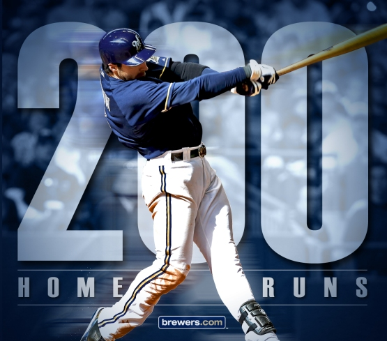 Ryan Braun hit his 200th career home run tonight.