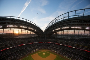 The F-16s speed over Miller Park. Photo: Scott Paulus