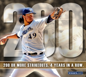 Yovanni Gallardo now has four consecutive 200-plus strikeout seasons.