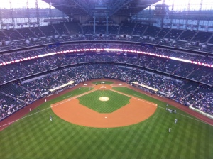 Miller Park from on top of the scoreboard tonight.