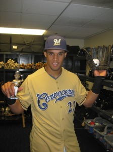 Carlos Gomez and his Bobblehead