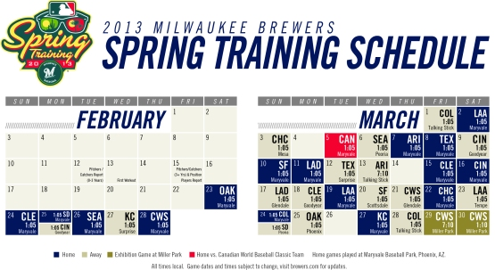 2013 Brewers Spring Training Schedule