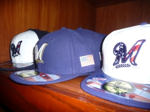 Patriotic Brewers Caps, $15, $20, $10 (from left to right)