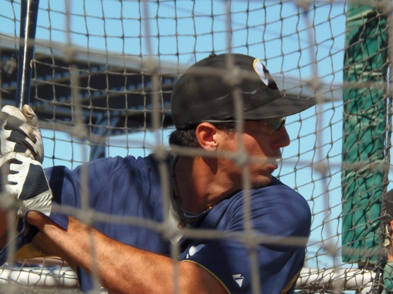 Josh Prince in the batting cage at the Arizona Fall League