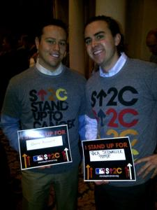 Mike Vassallo and I before the SU2C press conference.  He was standing up for his grandmother, I was standing up for my grandfather.