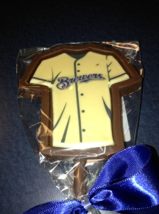Fans purchasing a Gold Brewers jersey at Brewers On Deck receive a gold jersey chocolate bar seen here.
