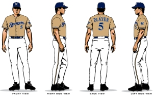 Here is a rendering of the gold Brewers jersey.