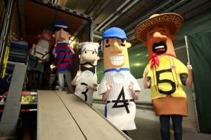 The Famous Racing Sausages normally leave for Spring Training on the truck, but they are sticking around for Brewers On Deck.