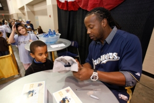 Rickie Weeks signs an autograph at the 2012 Brewers On Deck.