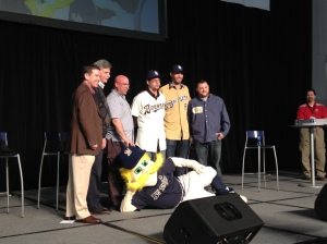 A photo of Peters and his winning design at Brewers On Deck today.