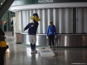 Bernie Brewer, shown here at a past Arctic Tailgate, won't be attending this year's event--he's headed to Arizona! (Photo courtesy of OnMilwaukee.com.)