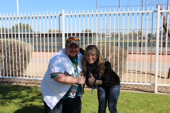 Me and Super Fan Pete at Maryvale. Wish him luck in the MLB Fan Cave!