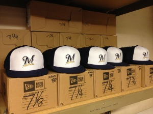 The new Batting Practice and Spring Training hats are lined up in the equipment room at Maryvale Baseball Park ready for players arriving this week.