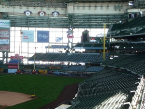 This picture shows the new party deck, just to the left of the clocktower and above the loge bleachers in rightfield.