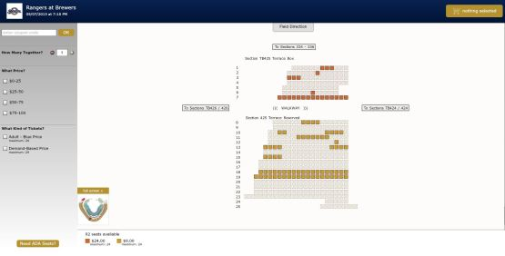 An example of the online seating map now available on Brewers.com