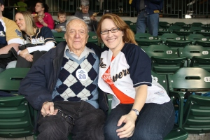 Earl and his granddaughter, Jill, attended the Brewers vs. Giants game on Thursday, April 18, 2013 to celebrate Earl's 99th birthday.