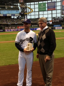Braun with the Josh Gibson Award.