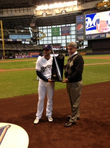 Braun and Melvin with the Silver Slugger Award.