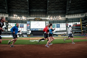 This unique and scenic course will take you inside Miller Park, around the warning track!