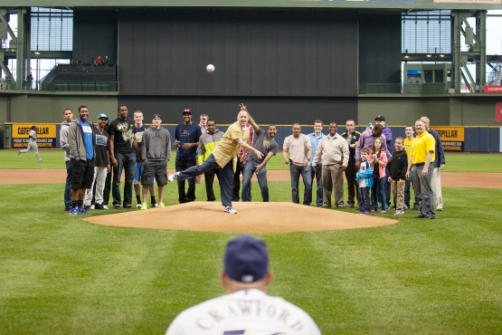 Brewers team photographer Scott Paulus captured the first pitch perfectly!