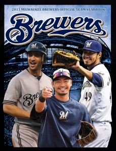 Ryan Braun, Norichika Aoki and Yovani Gallardo are featured on the 2013 Yearbook cover.