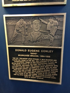 Gene Conley's plaque on the Braves Honor Roll at Miller Park.