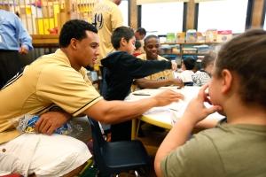 Carlos Gomez and Alfredo Figaro in the K5 classroom today.