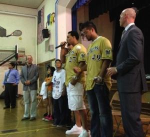 Carlos Gomez speaks to the kids today.