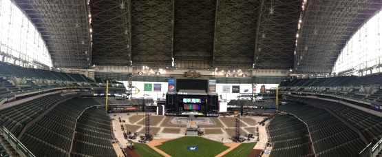 Here's what Miller Park looks like as of 1pm on Friday. Click the photo to view more images of this week's set-up process.