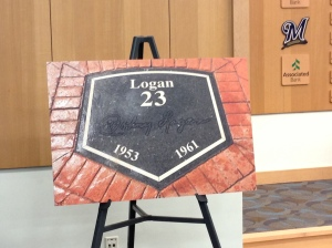 A photo of the Johnny Logan plaque on the Miller Park Walk of Fame.
