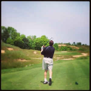 Greg Meyer admires his shot.