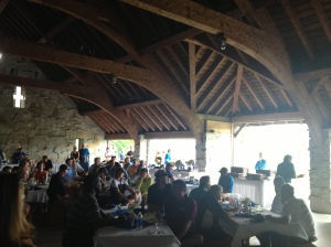 Dinner was in the barn at Whistling Straits post-round.