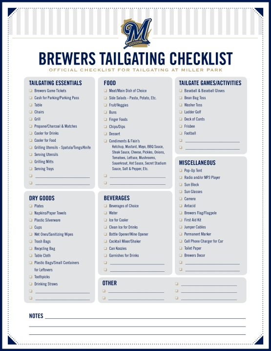 Brewers Ultimate Tailgate Checklist