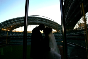 Here's a photo from my wedding reception in the Stadium Club at Miller Park. You just can't beat that backdrop!