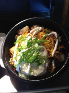 The fried egg topping the bowl of chili was an interesting take on a traditional favorite.