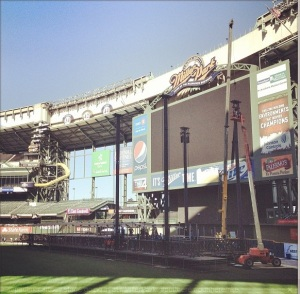 As of Friday afternoon, here's the progress on the setup for the McCartney show at Miller Park.